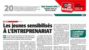 Article DH les jeunes sensibilisés à l'entreprenariat